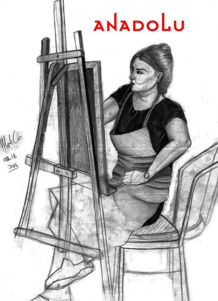Karakalem İmgesel YağlıBoya Yapan Kadın Çizimi Çukurovada