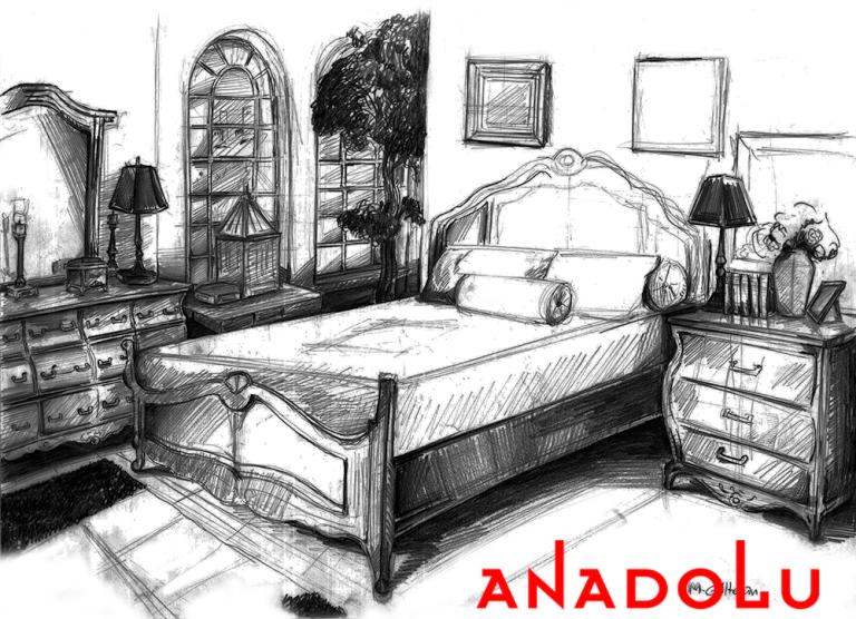 Çukurovada Bir Yatak Odası Çizimleri