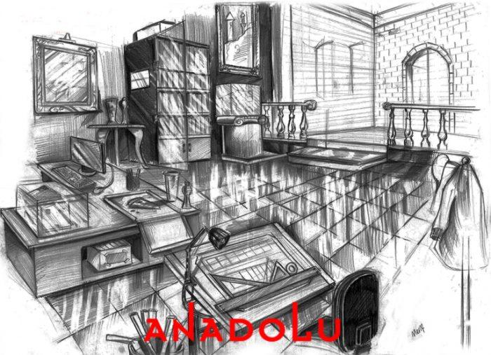 İmgesel Karakalem Bir Çalışma Odası Çizimi Çukurovada
