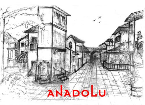 Karakalem Bir Sokak İmgesel Çizim Örneği Çukurovada
